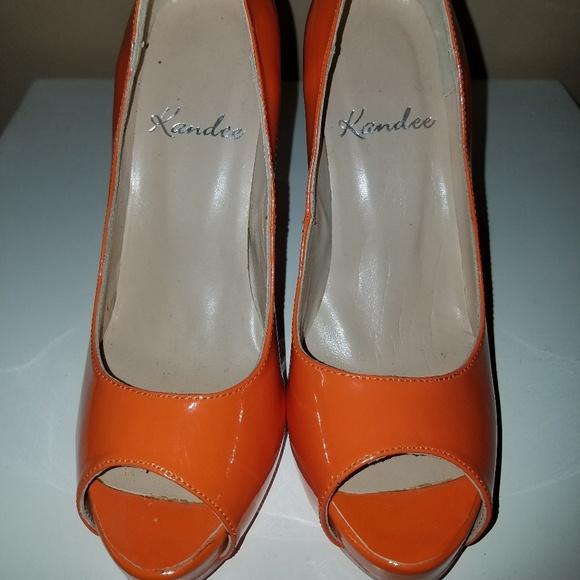 Kandee Orange Peeptoe Heels